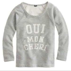 J. Crew Oui Mon Cheri Sweatshirt gray white Sz M
